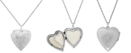 Macy's 4-Photo Engraved Heart Locket in Sterling Silver