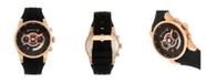 Morphic Quartz M72 Series, MPH7204, Black/Rose Gold Chronograph Silicone Watch 43MM