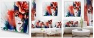 "Design Art Designart Woman With Rose Illustration Abstract Canvas Artwork - 40"" X 30"""