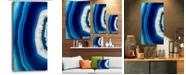 "Design Art Designart Blue Agate Crystal Abstract Canvas Art Print - 16"" X 32"""