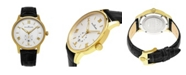 Stuhrling Alexander Watch A102-03, Stainless Steel Yellow Gold Tone Case on Black Embossed Genuine Leather Strap