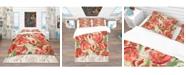 Design Art Designart 'Red Flower Pattern' Vintage Duvet Cover Set - King