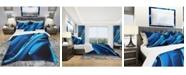 Design Art Designart 'Liquid Blue Abstract' Modern and Contemporary Duvet Cover Set - Twin