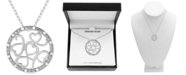 """Macy's Diamond (1/10 ct. t.w.) Multi-Heart Circle 18"""" Pendant Necklace in Sterling Silver"""