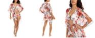 RACHEL Rachel Roy White Floral Printed Tie-Front Kimono Cover-Up