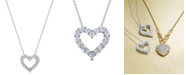 "Macy's Diamond 18"" Heart Pendant Necklace (2 ct. t.w.) in 14k White Gold"