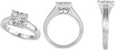 Macy's Diamond Square Halo Engagement Ring (3/4 ct. t.w.) in 14k White Gold