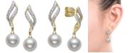 Belle de Mer Cultured Freshwater Pearl (8mm) & Diamond (1/3 ct. t.w.) Drop Earrings in 14k Gold