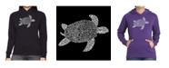 LA Pop Art Women's Word Art Hooded Sweatshirt -Turtle