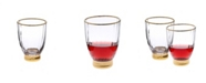 Classic Touch Set of 6 Straight Line Textured Stemless Wine Glasses with Vivid Gold Tone Base and Rim