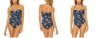Bleu by Rod Beattie Printed Bandeau One-Piece Swimsuit