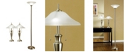 "Artiva USA 3-Piece 71"" Torchiere and 24"" Table Lamps with a Finish and Quality Hammered Glass Shades"