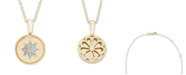 Macy's Diamond Accent Starburst Pendant in 14K Yellow or Rose Gold
