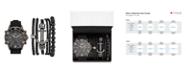 American Exchange Men's Black/Grey Analog Quartz Watch And Stackable Gift Set