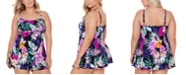 Swim Solutions Plus Size Floral-Print Empire Swimdress, Created for Macy's