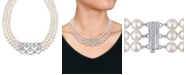 "Macy's Akoya Cultured Pearl (6.5-7mm) and Diamond (1 3/8 ct. t.w.) 3-Strand 18"" Necklace 14k White Gold Clasp"