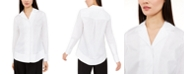 Alfani Curved-Hem Button-Up Shirt, Created for Macy's