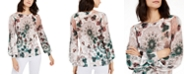 INC International Concepts INC Petite Printed Blouson-Sleeve Sweater, Created for Macy's