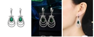 A&M Silver-Tone Emerald Accent Layered Earrings