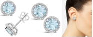 Macy's Aquamarine (2-1/2 ct. t.w.) and Diamond (1/6 ct. t.w.) Stud Earrings in Sterling Silver