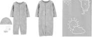 Carter's Baby Boys or Girls 3-Pc. Printed Cotton Coverall, Hat & Socks Set