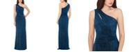 XSCAPE One-Shoulder Glitter Gown