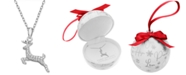 """Macy's Cubic Zirconia 18"""" Holiday Pendant Necklace in Sterling Silver in Ornament Box, Created for Macy's"""