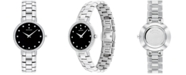 Movado Women's Swiss Faceto Diamond (1/4 ct. t.w.) Stainless Steel Bracelet Watch 28mm