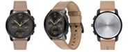 Movado Men's Swiss Chronograph BOLD Taupe Leather Strap Watch 42mm
