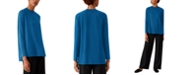Eileen Fisher Side-Vent Crewneck Top