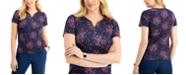 Karen Scott Short Sleeve Dot Fantasy Henley Top, Created for Macy's