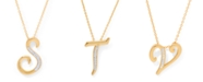 """Macy's Diamond Accent Initial Pendant Necklace 18"""" in Gold Plate"""