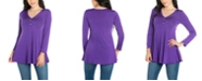 24seven Comfort Apparel Women's Flared Long Sleeve Henley Tunic Top