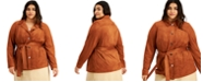 Alfani Plus Size Belted Faux-Suede Jacket, Created for Macy's