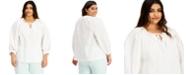 Alfani Plus Size Tie-Neck Top, Created for Macy's