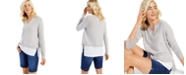 Charter Club Cashmere Long-Sleeve Split-Neck Twofer, Created for Macy's