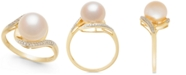 Macy's Cultured Freshwater Pearl (9mm) & Diamond Accent Ring in 14k Gold