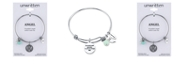 Unwritten Angel Charm and Amazonite (8mm) Bangle Bracelet in Stainless Steel with Silver Plated Charms