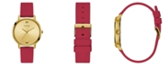 """GUESS WOMEN""""S RED GOLD DIAMOND SILICONE WATCH 30MM"""