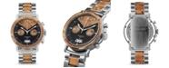 Original Grain Mens Epoxy Burl Wood Chronograph, Stainless Steel 44mm Watch