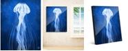 "Creative Gallery Glowing Jellyfish on Blue 24"" x 36"" Acrylic Wall Art Print"