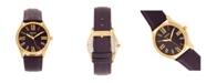 Bertha Quartz Sadie Purple Genuine Leather Watch, 36mm