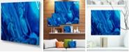 "Design Art Designart Dark Blue Abstract Acrylic Paint Mix Abstract Art On Canvas - 20"" X 12"""