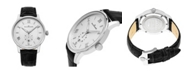 Stuhrling Alexander Watch A102-01, Stainless Steel Case on Black Embossed Genuine Leather Strap