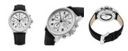 Stuhrling Alexander Watch A473-02, Stainless Steel Case on Black Alligator Embossed Genuine Leather Strap