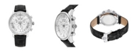 Stuhrling Alexander Watch A101-01, Stainless Steel Case on Black Embossed Genuine Leather Strap