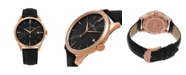 Stuhrling Alexander Watch A911-05, Stainless Steel Rose Gold Tone Case on Black Embossed Genuine Leather Strap