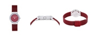 Bering Women's Crystal Red Stainless Steel Mesh Bracelet Watch 26mm