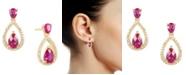 Macy's Certified Ruby (1-1/5 ct. t.w.) & Diamond (1/20 ct. t.w.) Openwork Teardrop Drop Earrings in 14k Gold-Plated Sterling Silver