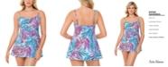 Swim Solutions Empire Tummy Control Swim Dress, Created for Macy's